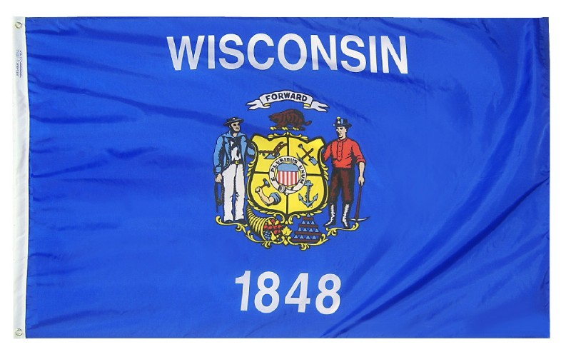 4 x 6' Wisconsin Flag and Mounting Set